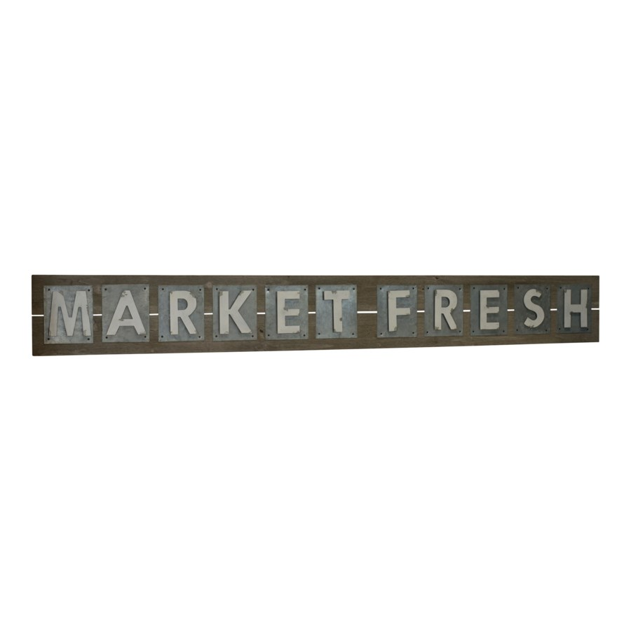 "|WD./MTL. WORD ART ""MRKT FRESH"" (1/cs)
