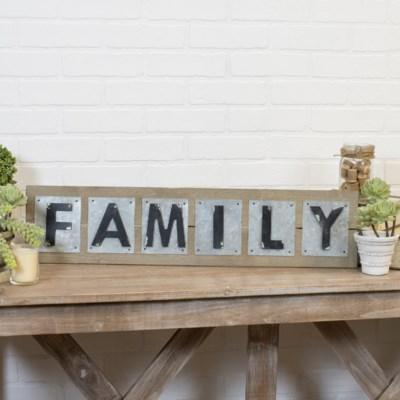"WD./MTL. WORD ART ""FAMILY"" (1/cs)"