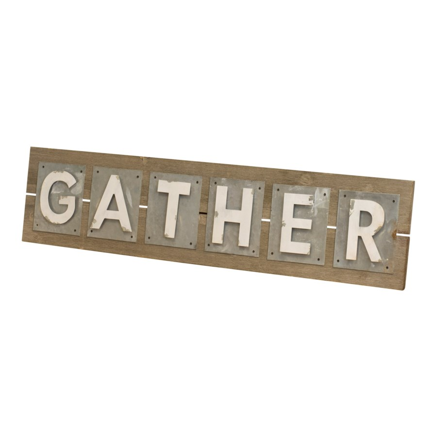 "WD./MTL. WORD ART ""GATHER"" (1/cs)"