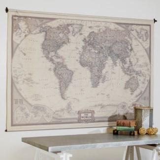 "HANGING MAP ""THE WORLD"" 80""(6/cs)"