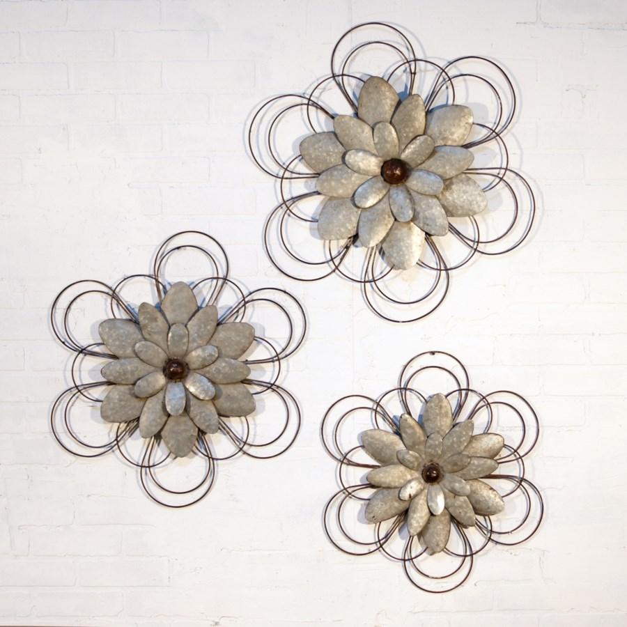 MTL. WALL FLOWERS SET/3 (4 sets/cs)