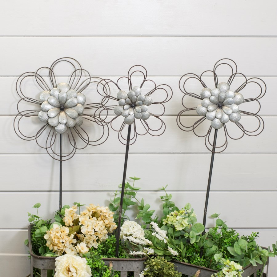 |MTL. FLOWER STAKE S/3 (2 sets/cs)|