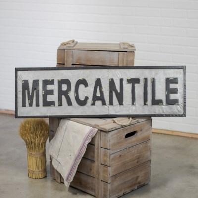 """MTL. WORD ART """"MERCANTILE"""" (2/cs)"""