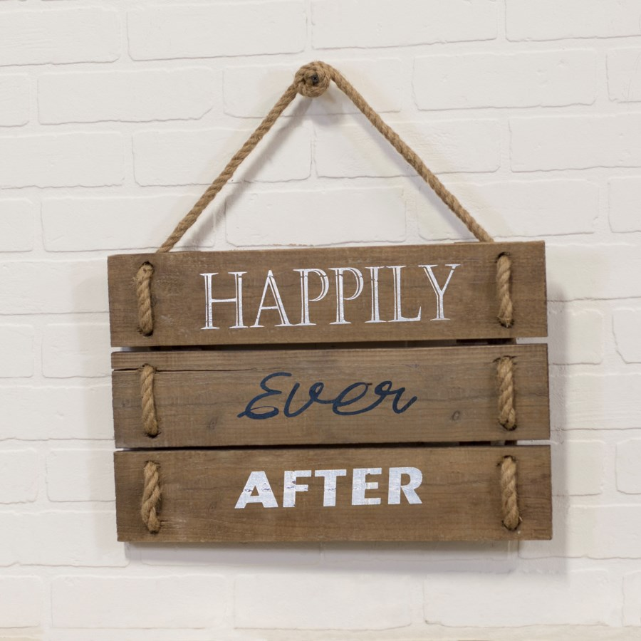 "|WD. SIGN ""HAPPILY EVER AFTER"" (4/cs)
