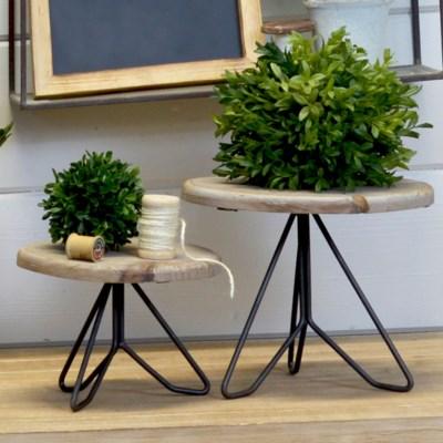 WD./MTL. PLANT STAND SET/2 (2sets/cs)