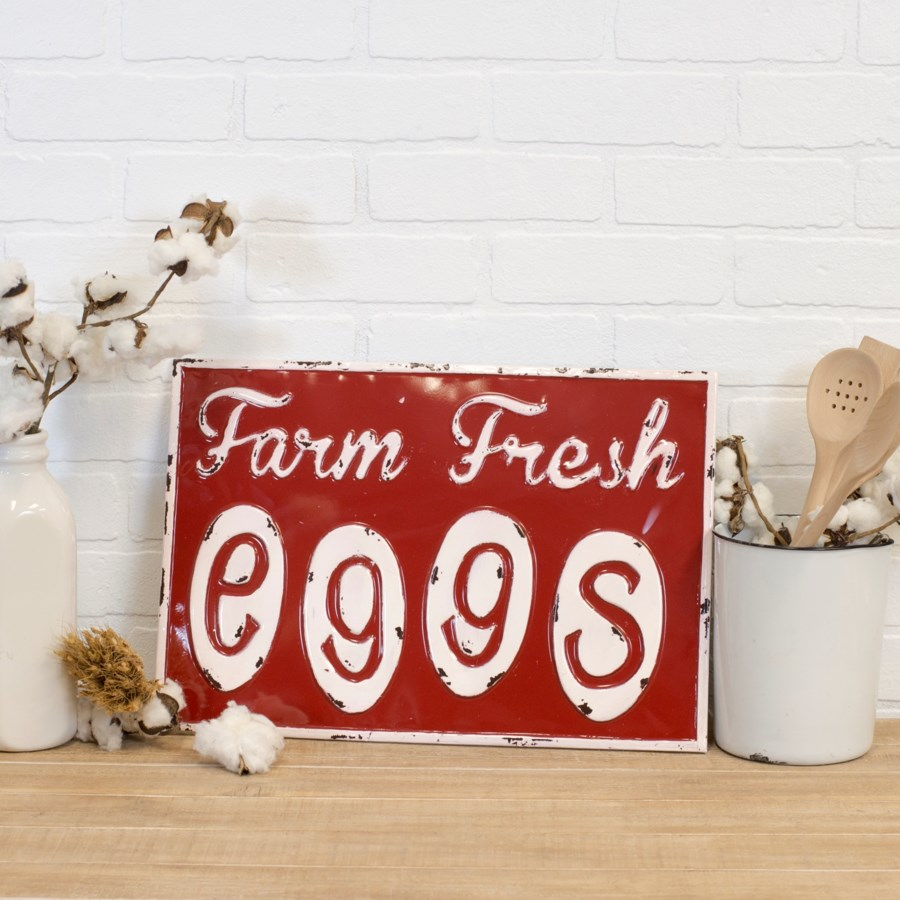"MTL. SIGN ""FRESH EGGS"" (12/cs)"