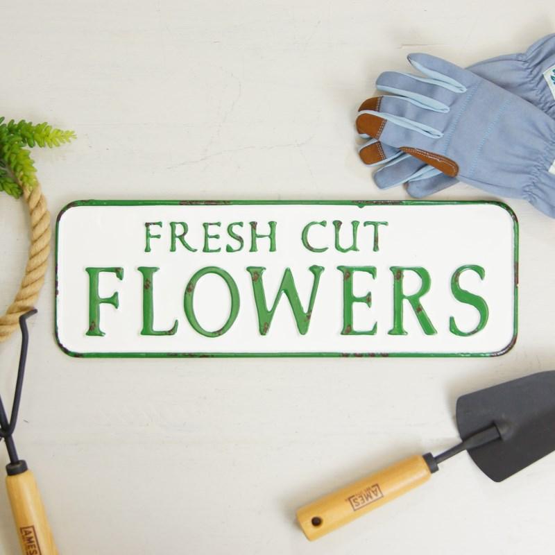 "MTL. SIGN ""FRESH CUT FLOWERS"""