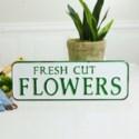 "MTL. SIGN ""FRESH CUT FLOWERS"" (12/cs)"