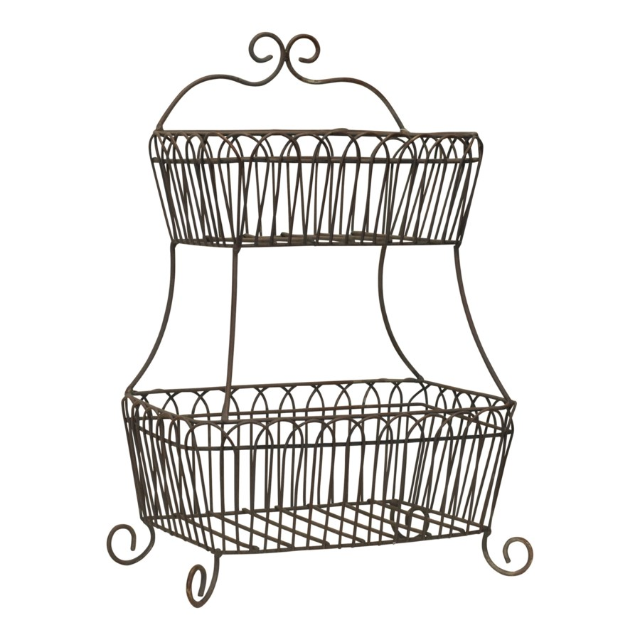MTL. 2 TIERED BASKET (2/cs)