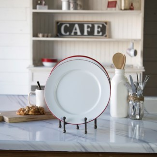 MTL. ENAMELWARE DINNER PLT RED SET/4  (6sets/cs)