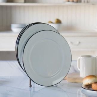 MTL. ENAMELWARE DINNER PLT BLK SET/4 (6sets/cs)