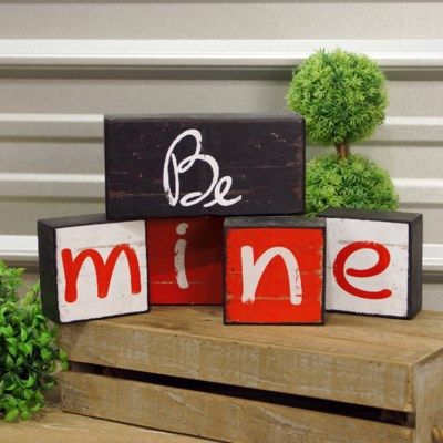 "|WD. BLOCKS ""BE MINE"" S/5 (12/cs)