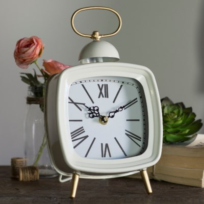 MTL. TABLE CLOCK WHITE (8/cs)