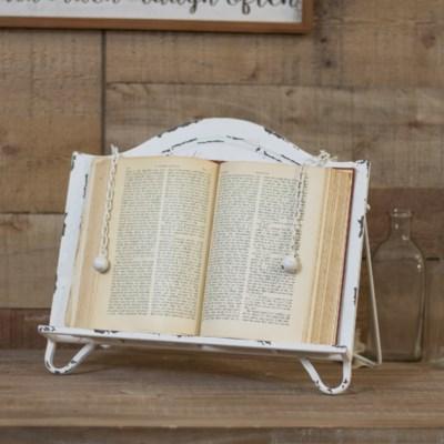 MTL. COOK BOOK HOLDER WHT (12/cs)