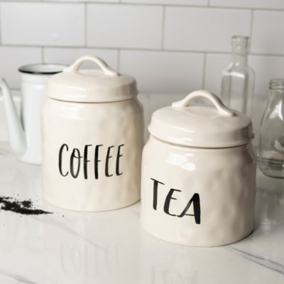 """CER. CANISTERS SET/2 """"COFFEE/TEA"""" (Available Jan 2019)"""