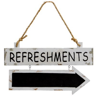 " WD. SIGN ""REFRESHMENTS"" (24/cs) "