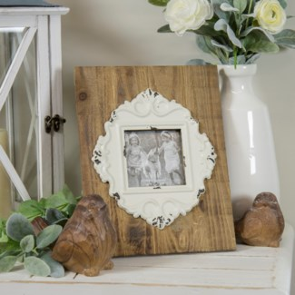 WD. TABLETOP PICTURE FRAME W/ WHITE (12/cs)