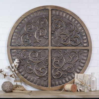 WD./MTL. CIRCULAR WALL DECOR (2/cs)