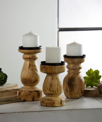 WD. CANDLE HOLDERS SET/3 (1/cs)
