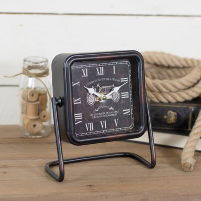 |MTL. SQUARE TABLE CLOCK BLACK (12/cs)|