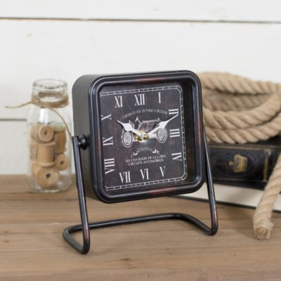 MTL. SQUARE TABLE CLOCK BLACK (12/cs)
