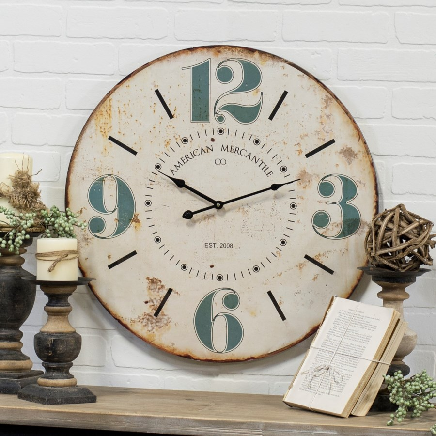 "WD. 23"" WALL CLOCK W/BLUE NUMBERS (4/cs)"
