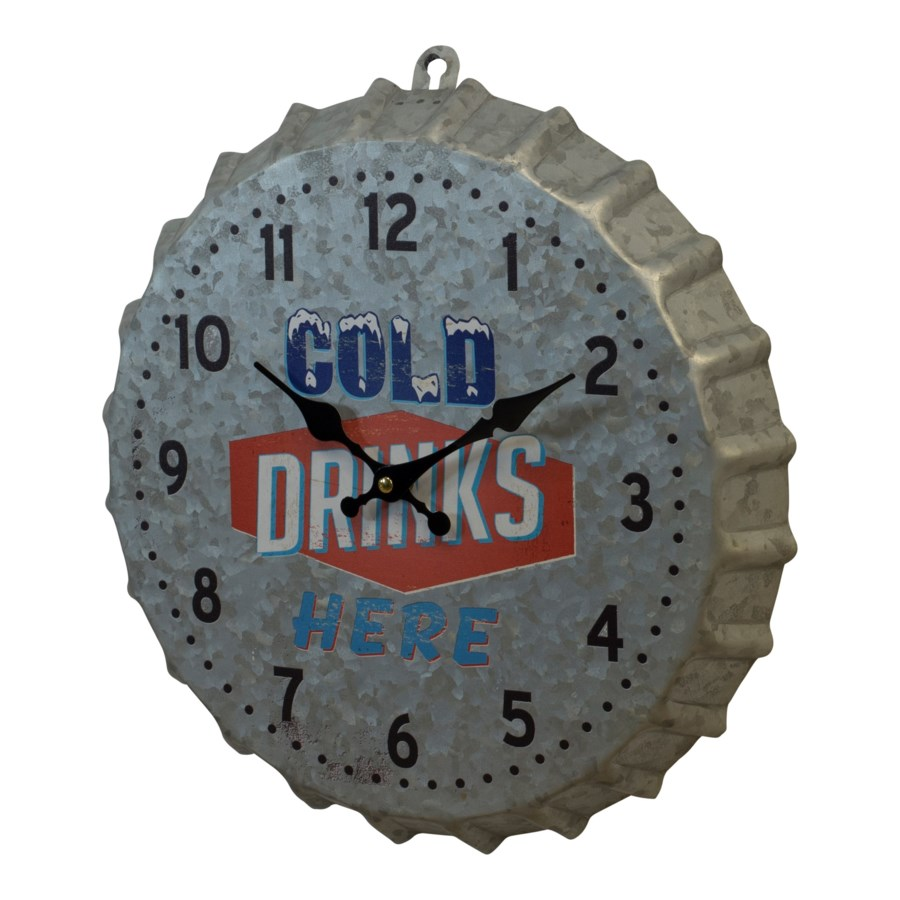 MTL. BOTTLE CAP WALL CLOCK (12/cs)
