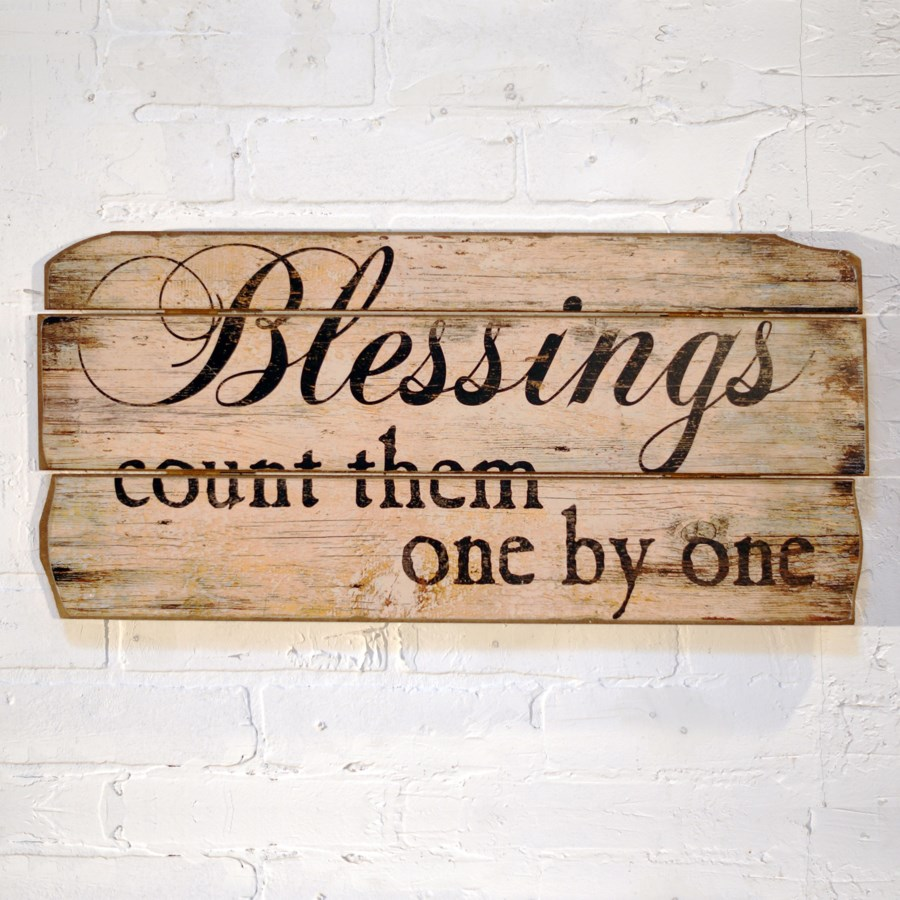 "|BLESSINGS"" WOOD SIGN (12/cs)