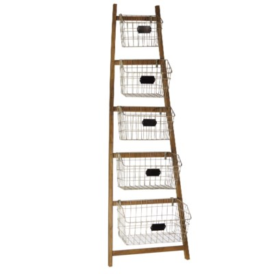 |WD. RACK W/METAL BASKETS (2cs/1pc)|