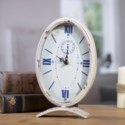 |MTL. TABLE CLOCK OVAL WHITE (8/cs)|