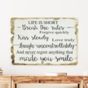 """WD. SIGN """"LIFE IS SHORT"""" (4/cs)"""