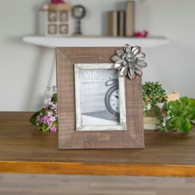 WD. PICTURE FRAME W/ FLOWER (16/cs)