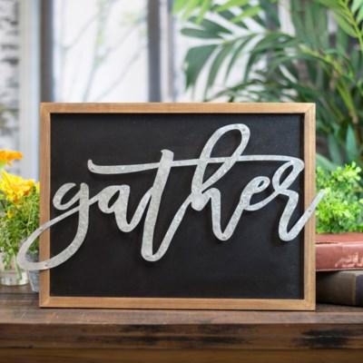 "WD. WORD ART ""GATHER"" (12/cs)"