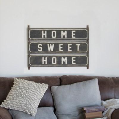 """MTL. SIGN """"HOME SWEET"""" (4/cs)"""