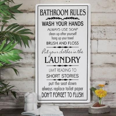 """MTL. SIGN """"BATHROOM RULES""""  (4/cs)"""