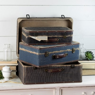 BURLAP DECORATIVE SUITCASES SET/3 (1set/cs)