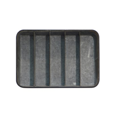 MTL. RECTANGLE TRAY W/ DIVIDERS (8/cs)