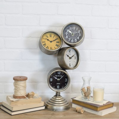 MTL. STACKED TABLE CLOCK (2/cs)