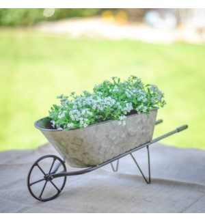 MTL. TABLETOP WHEELBARROW PLANTER