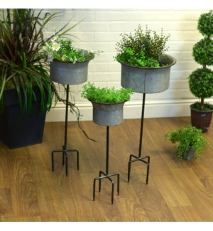 |MTL. PLANTERS ON STAND SET/3 (2 sets/cs)|