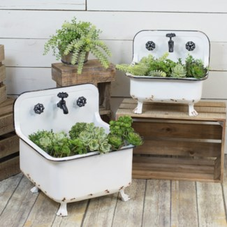 MTL. WASH BASIN PLANTERS SET/2 (1 set/cs)