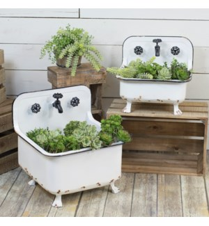MTL. WASH BASIN PLANTERS SET/2