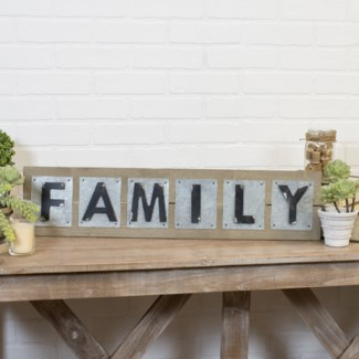 "WD./MTL. WORD ART ""FAMILY"" (1/cs)"
