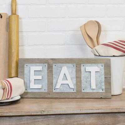 "WD./MTL. WORD ART ""EAT"" (1/cs)"