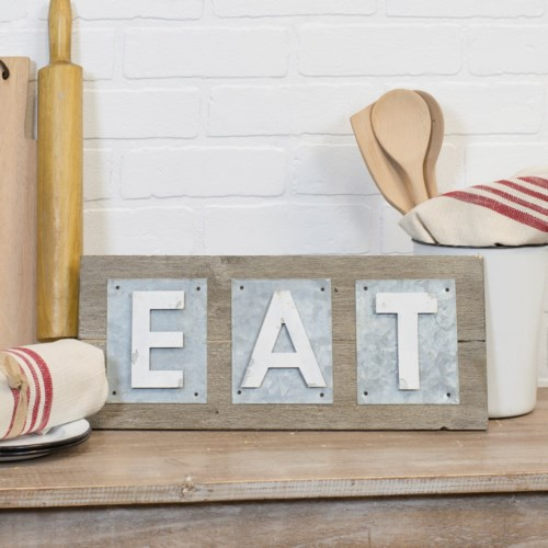 "WD./MTL. WORD ART ""EAT"""