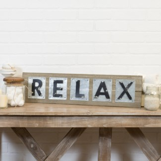 "|WD./MTL. WORD ART ""RELAX"" (1/cs)