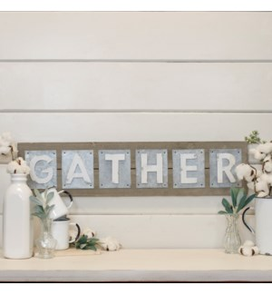 "|WD./MTL. WORD ART ""GATHER""
