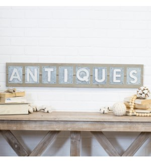 "|WD./MTL. WORD ART ""ANTIQUES""