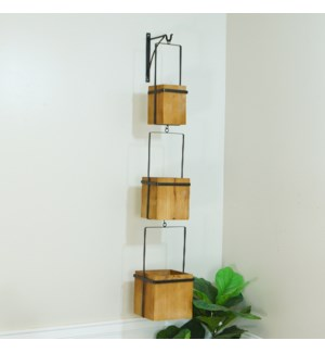 WD./MTL. HANGING PLANTER W/ HOOK