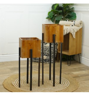 MTL./WD. PLANTER STANDS S/2